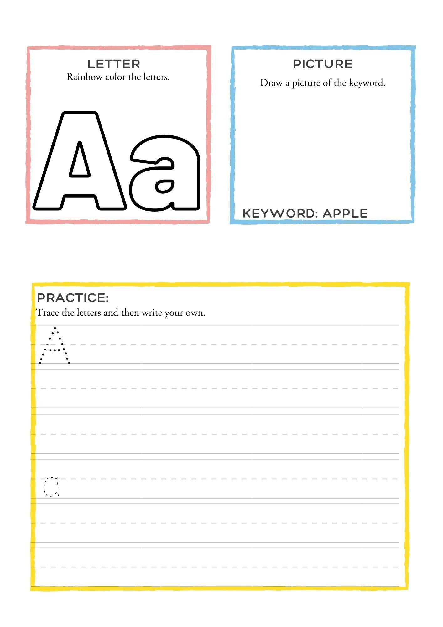 Letter Dictionary worksheet practice